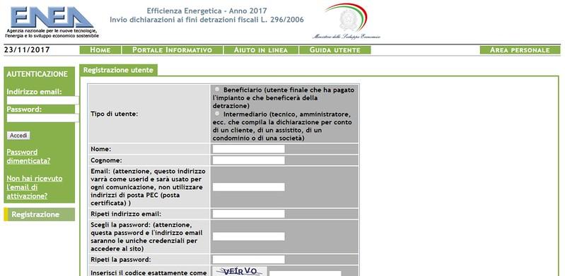 Registrazione sito Enea 2